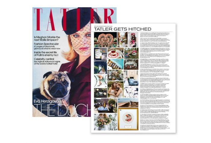 Tatler (March 2019) front cover and image of wedding feature with Card and Light listed as a bespoke wedding stationery supplier